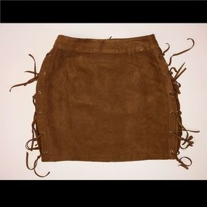 suede looking brown skirt with fringe on sides M